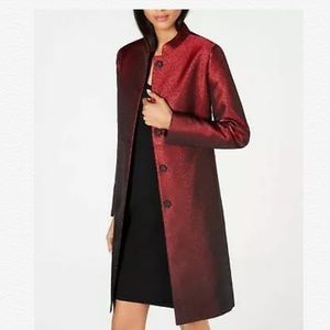 ANNE KLEIN CAMILLE DOT RED TOPPER JACKET COAT